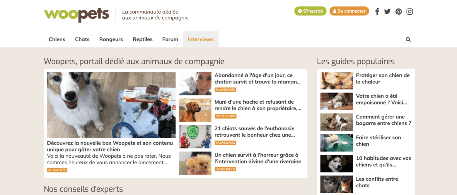 Homepage communauté Woopets