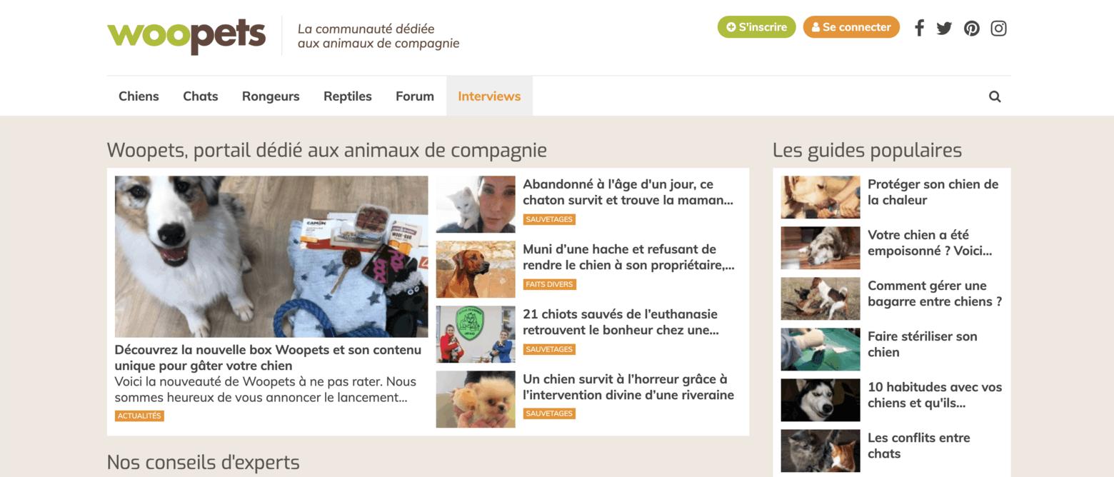 Homepage communauté Woopets