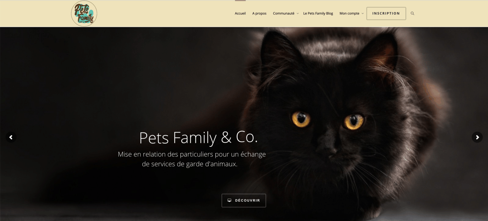 Homepage communauté Pet's Family & Co