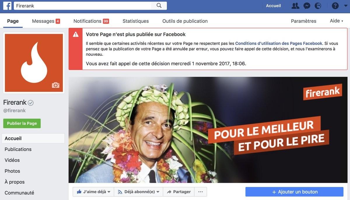 Firerank page facebook ban