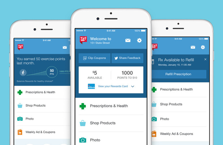 3 prototypes app Balance Rewards Walgreens