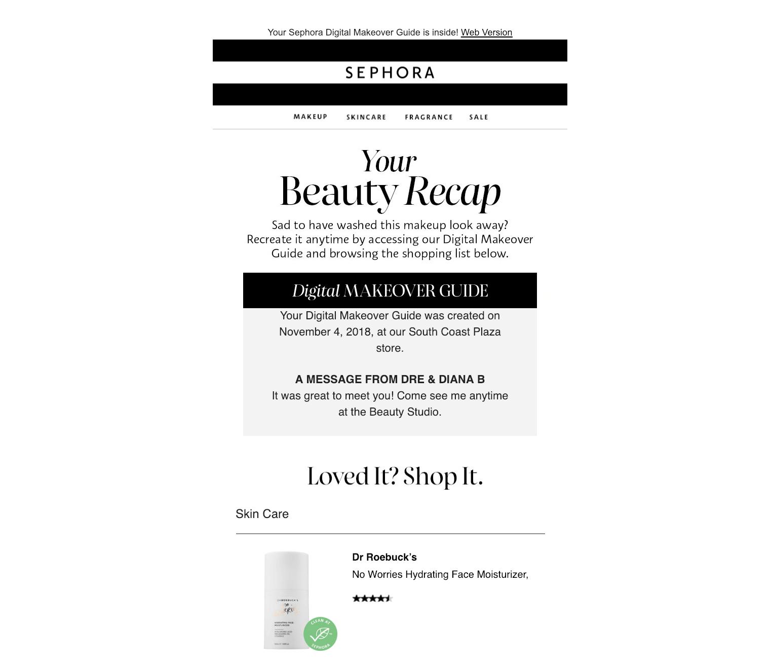 e-mail suivi atelier maquillage sephora