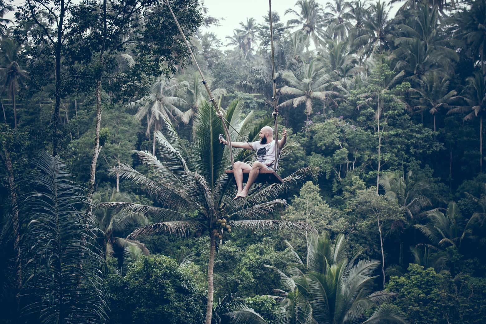 homme sur balancoire jungle